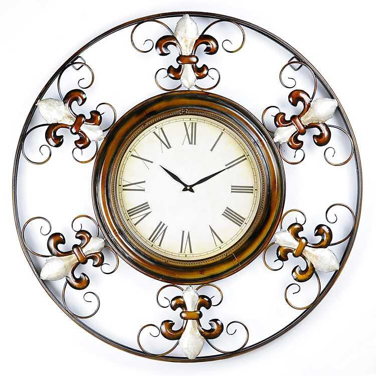 Pearl Fleur De Lis Wall Clock Kirklands