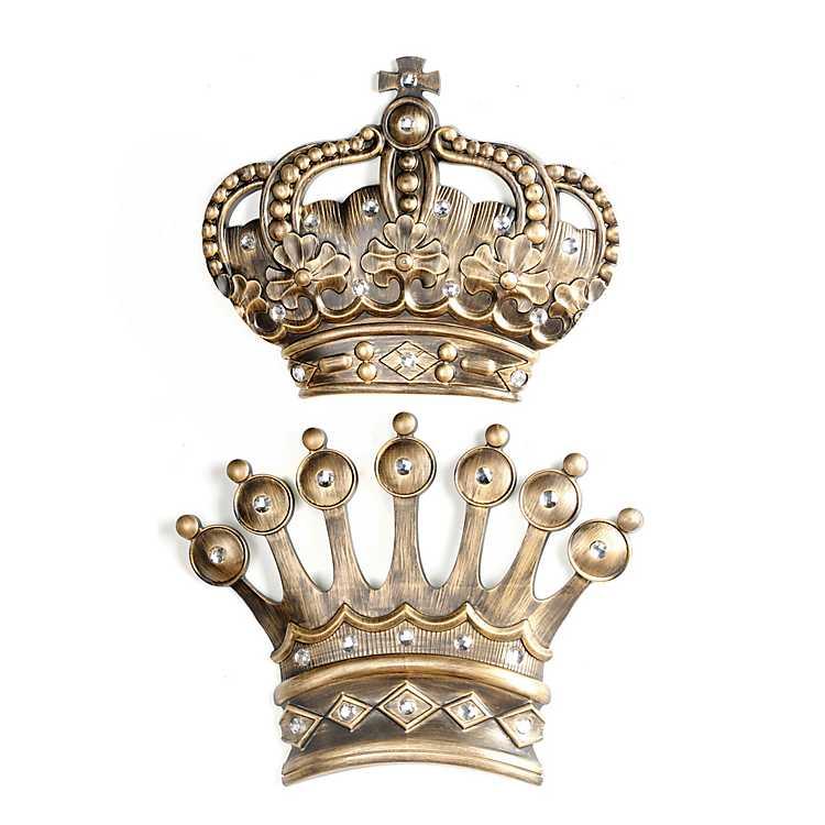 Jumbo Gold Jeweled Crown Wall Plaques