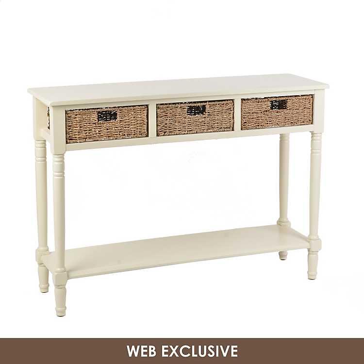 Cream Storage Basket Console Table, White Console Table With Storage Baskets