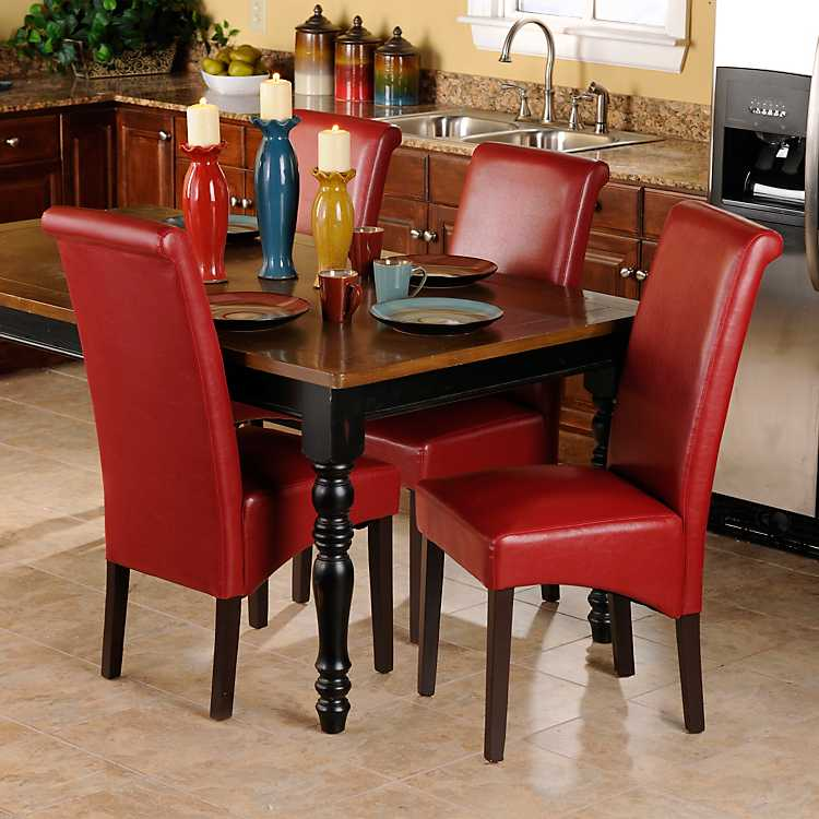 Red Faux Leather Parsons Chair Set Of 2 Kirklands