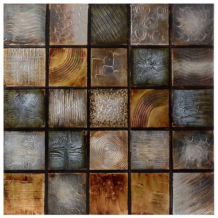 Small square print pattern bronze color