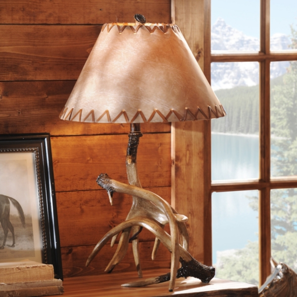 Antler Table Lamp With Faux Leather Shade Kirklands