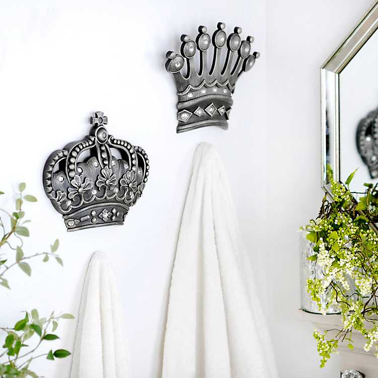 His Her Crown Silver Jeweled Wall