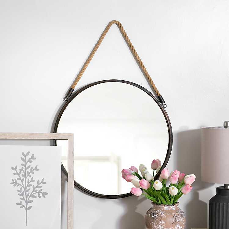 Metal Rope Wall Mirror Kirklands, Rope Hanging Vanity Mirror