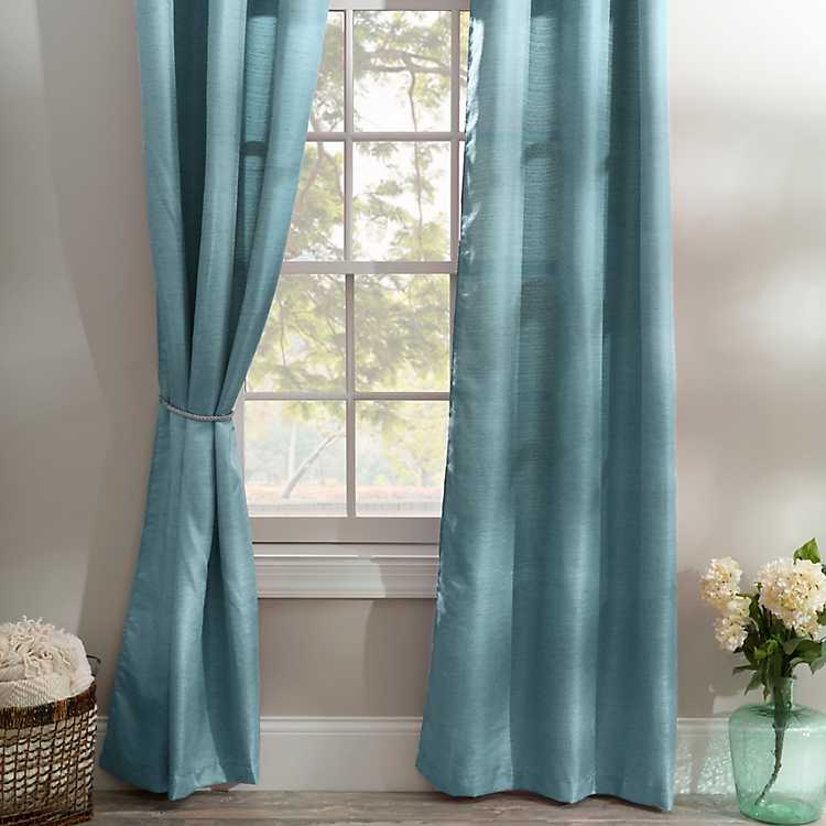 Solid Teal Curtain Panel Set 84 In