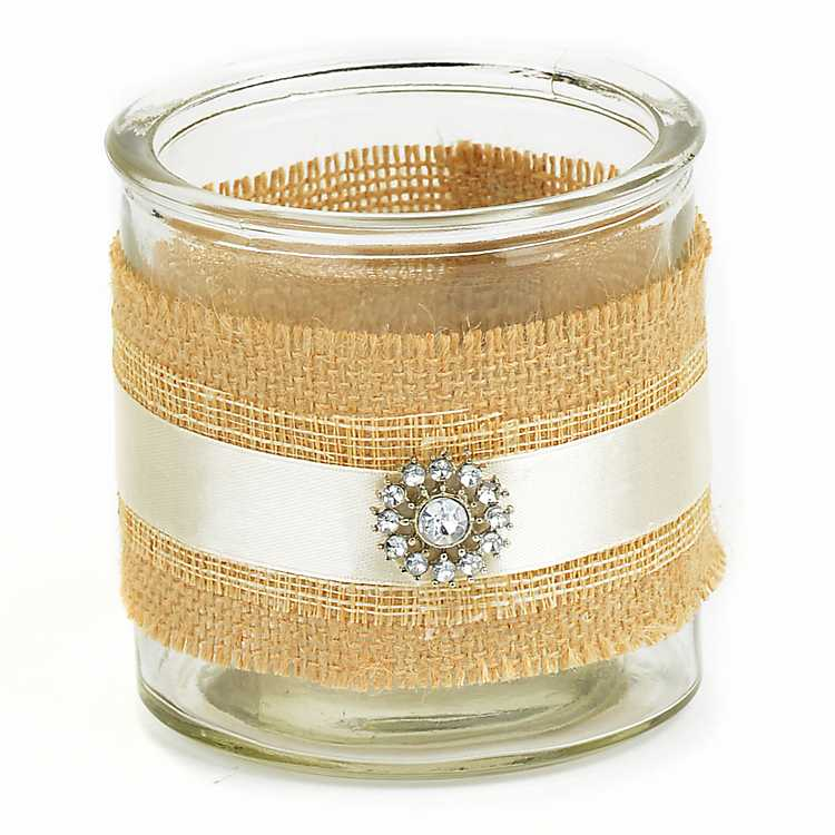 Clear 7.25 Inch Glass Vase Rustic Decor Handmade Jeweled Burlap Candle Holder With Ivory Pillar Unscented Candle