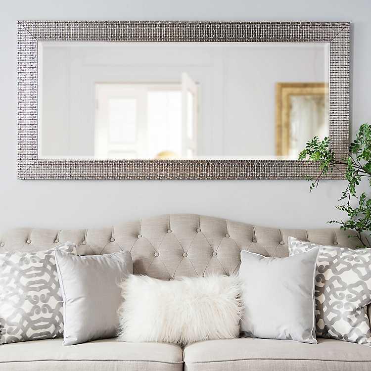 Metallic Silver Block Framed Mirror 32x66 In Kirklands