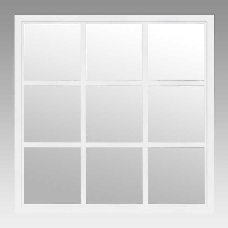 White Window Pane Decorative Mirror, White Decorative Window Pane Mirror