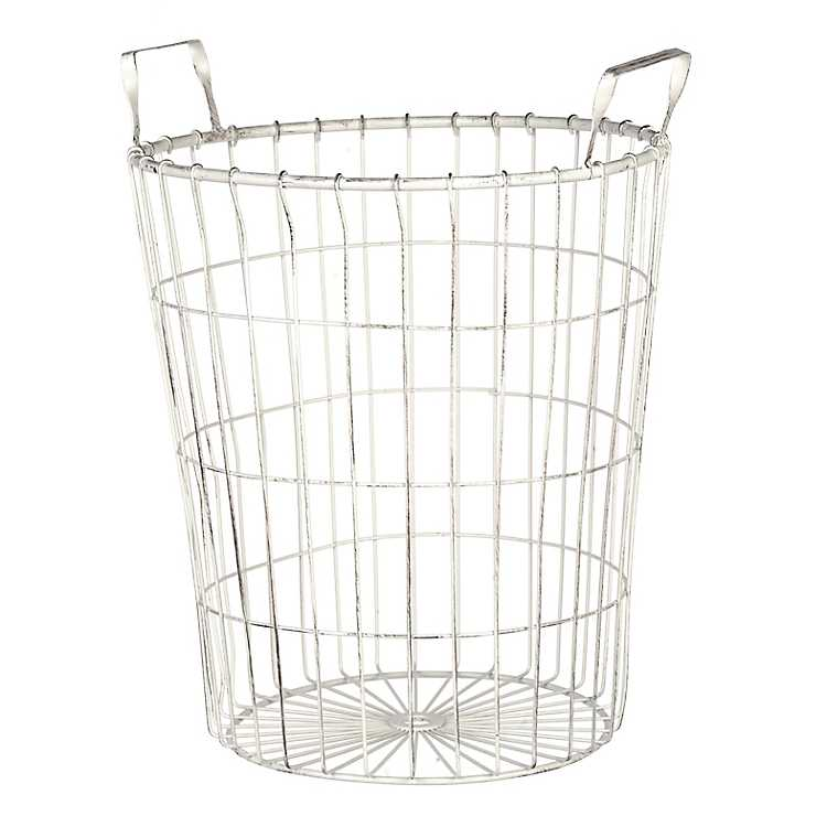 Distressed Cream Wire Basket Large, Large Round Wire Basket