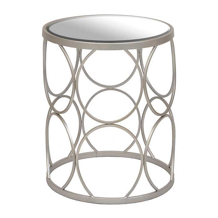 Silver Circles Mirrored Side Table, Silver Mirror Side Table