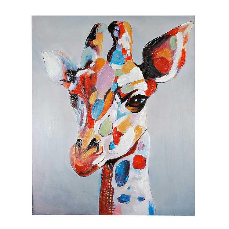 Colorful Serious Giraffe Canvas Art Print Kirklands
