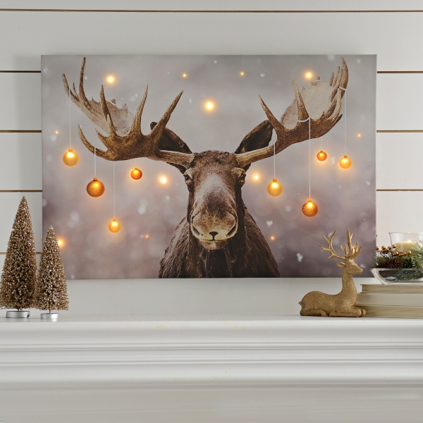 Holiday Moose Led Canvas Art Print Kirklands