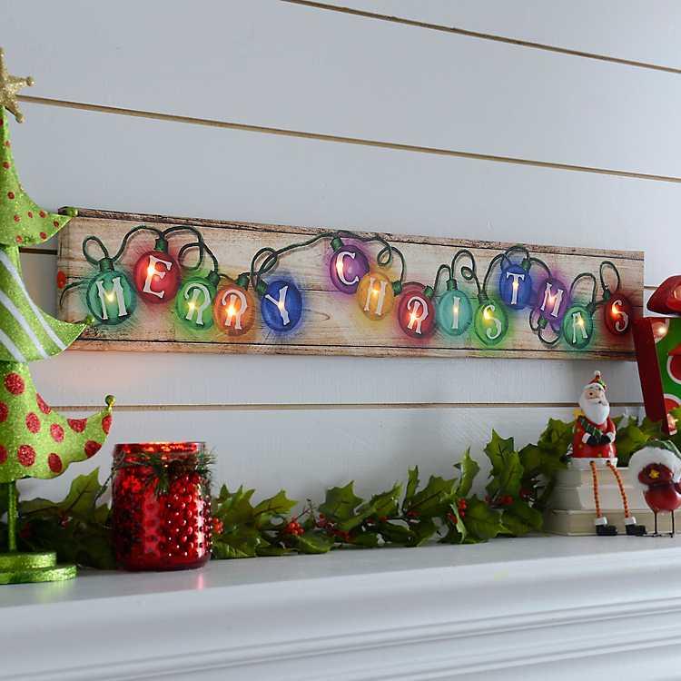 Merry Christmas Lights Led Canvas Art Print Kirklands