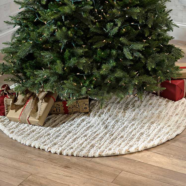White And Gold Faux Fur Tree Skirt Kirklands