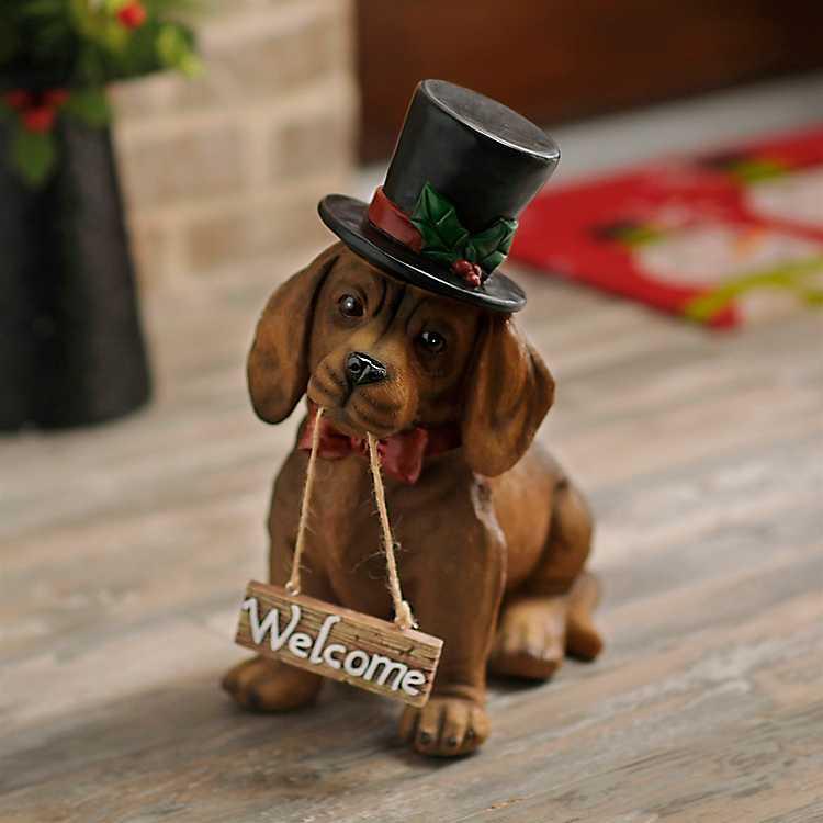Christmas Welcome Dachshund Puppy Statue Kirklands