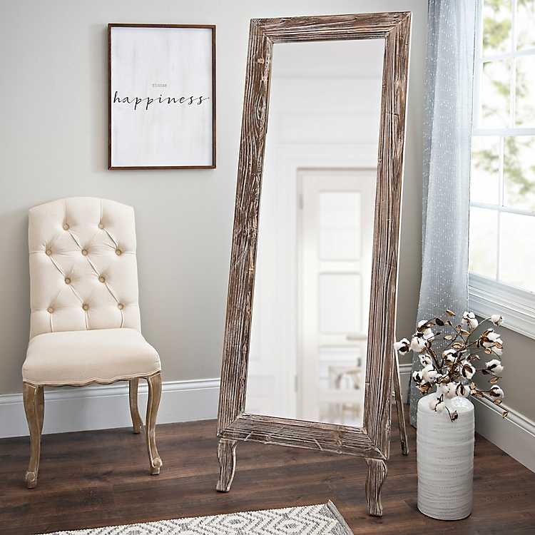 Distressed Aspen Cheval Full Length, Free Standing Leaning Mirror