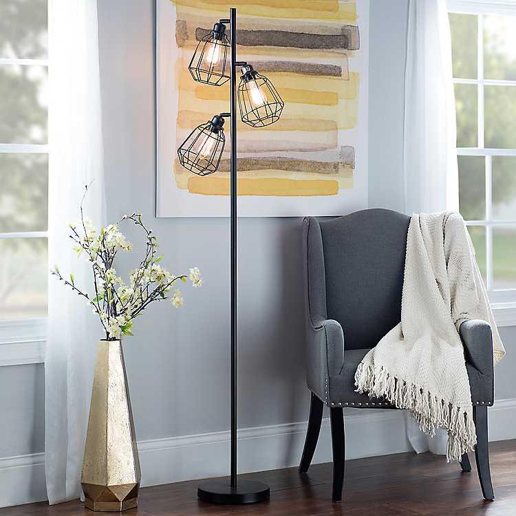 Black Caged Filament Floor Lamp Kirklands