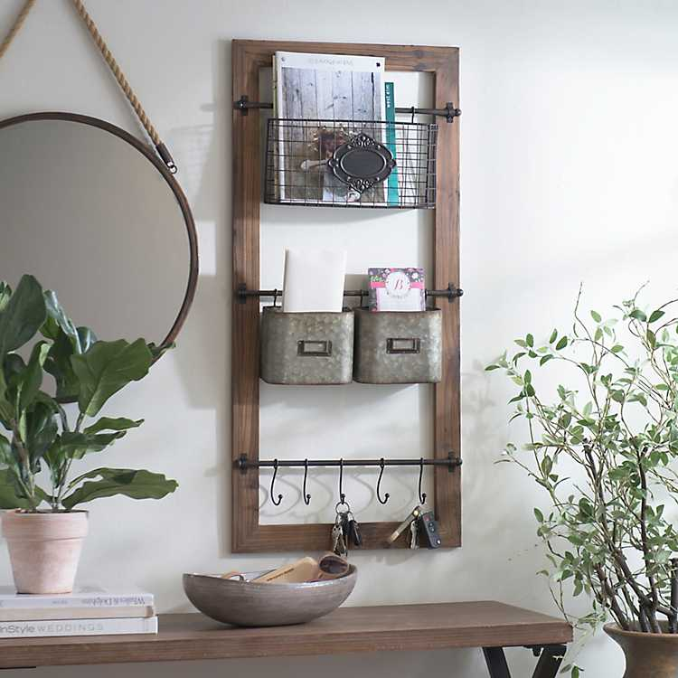 Wall Shelf With Metal Baskets /& Hooks Rustic Farmhouse Style Decor