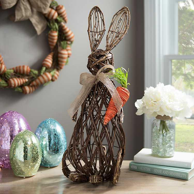 Rattan Bunny And Carrot Statue Kirklands