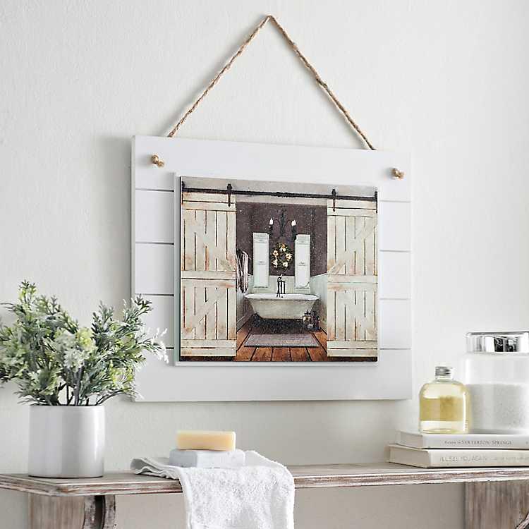 Barn Door Bathroom Framed Art Print Kirklands