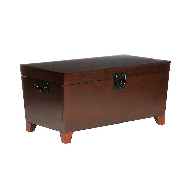 Espresso Tapered Trunk Coffee Table, Storage Trunk Table