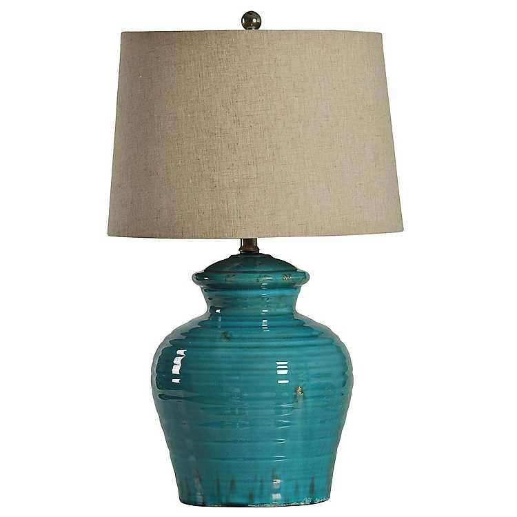 Turquoise Ceramic Jug Table Lamp, Turquoise Ceramic Lamp