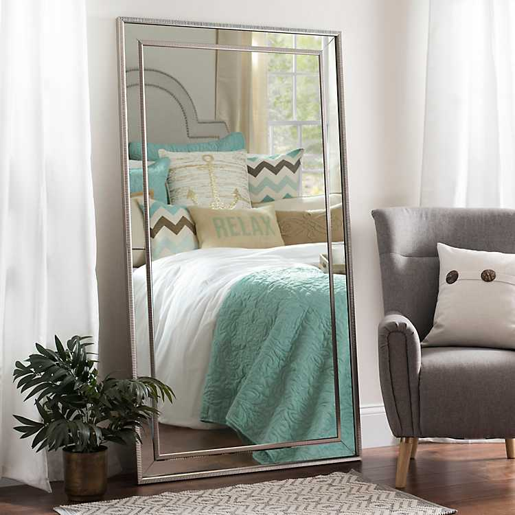 Large Silver Luxe Mirror 37 2x67 2 In, Huge Floor Length Mirrors