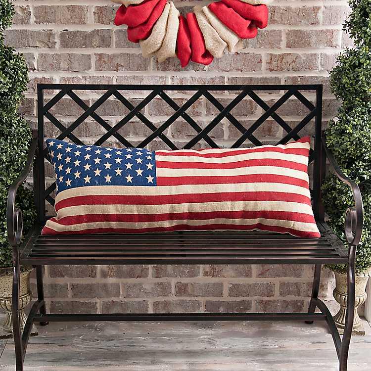 American Flag Bench Pillow Kirklands