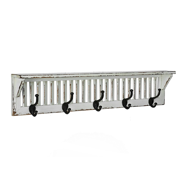 Distressed white wood shutter shelf with hooks