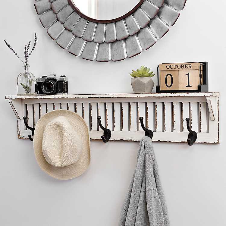 Distressed White Wood Shutter Shelf