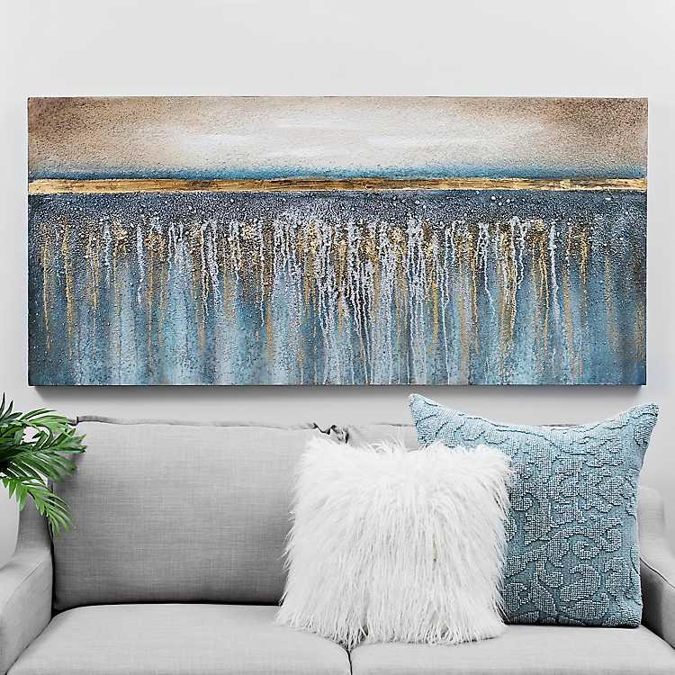 Blue And Gold Sparkle Canvas Art Print Kirklands