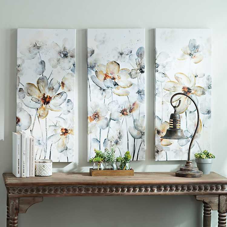 UKART Set of 3 Watercolor Pink Flower Art Print,Blossom Floral Canvas Wall Art
