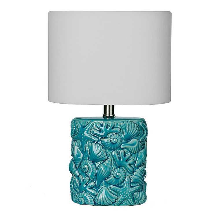 Embossed Turquoise Ceramic Seas, Turquoise Ceramic Lamp