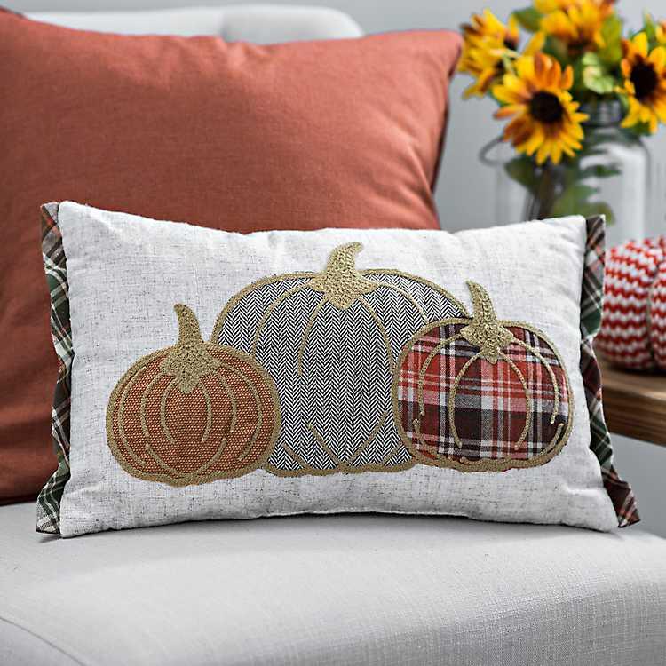 Plaid Pumpkins Stitched Accent Pillow Kirklands