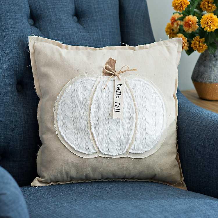 Hello Fall Cable Knit Pumpkin Pillow Kirklands