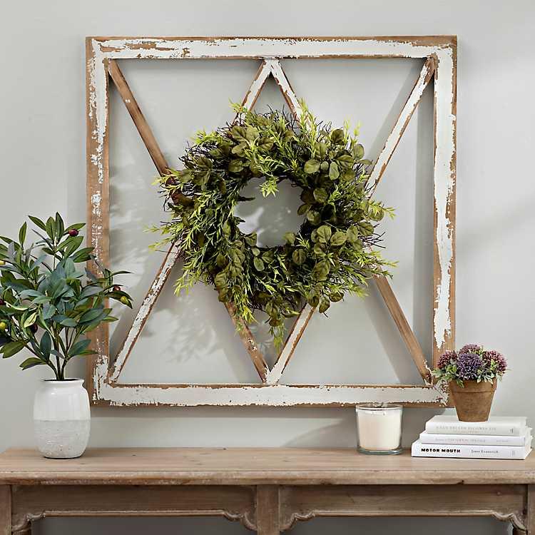 Wreath Topped Windowpane Wall Plaque Kirklands