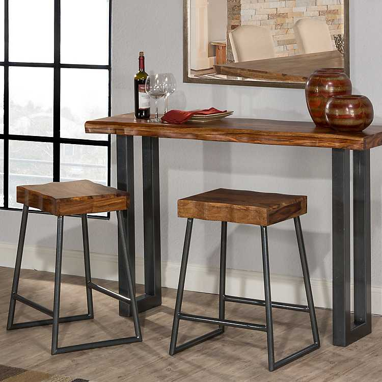 Emerson 3 Pc Console Table And Counter Stools Set Kirklands - Sofa Table With Stools Underneath