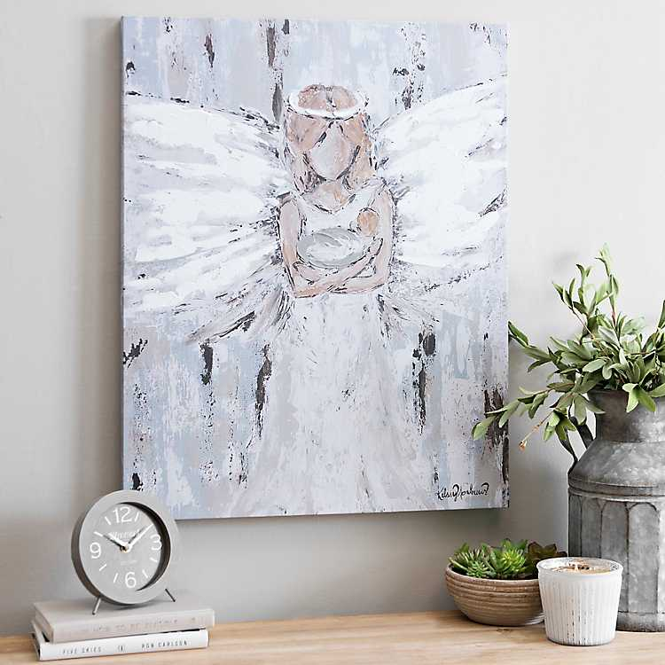 Angel In The Woods PURPLE Canvas Wall Art Picture Print