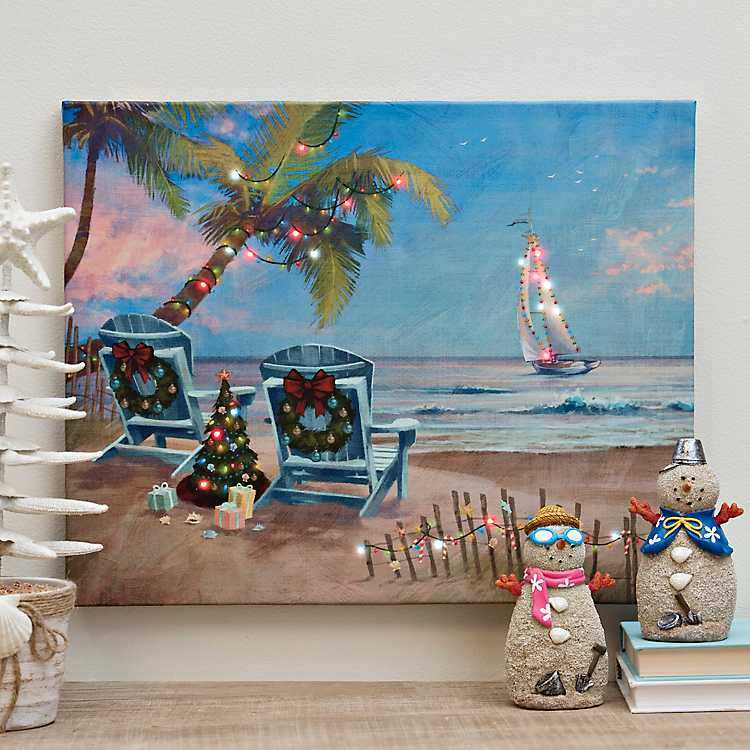 Christmas Vacation Beach Led Canvas Art Print Kirklands