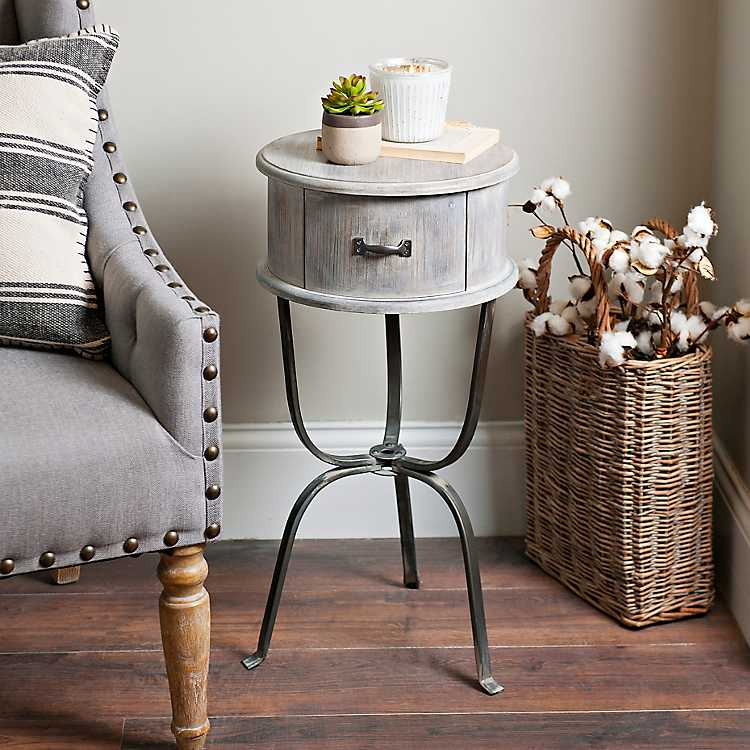 Distressed Graywashed Round Accent, Small Round End Table