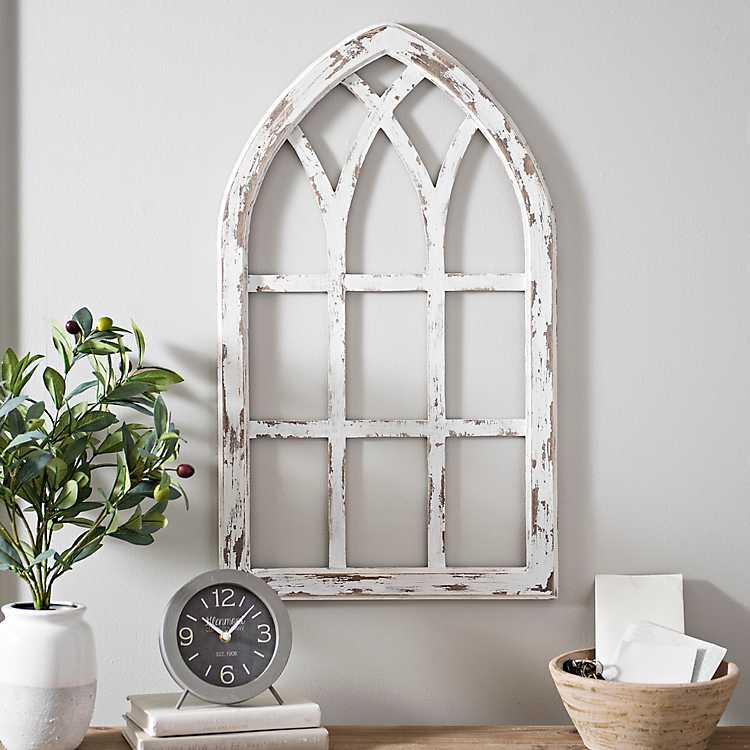 Antiqued White Window Pane Arch Plaque
