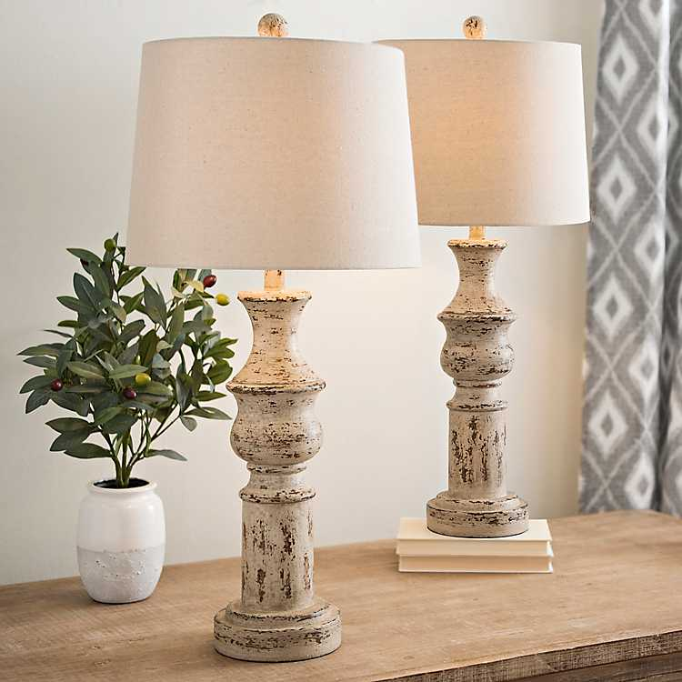 Distressed Cream Table Lamps Set Of 2 Kirklands