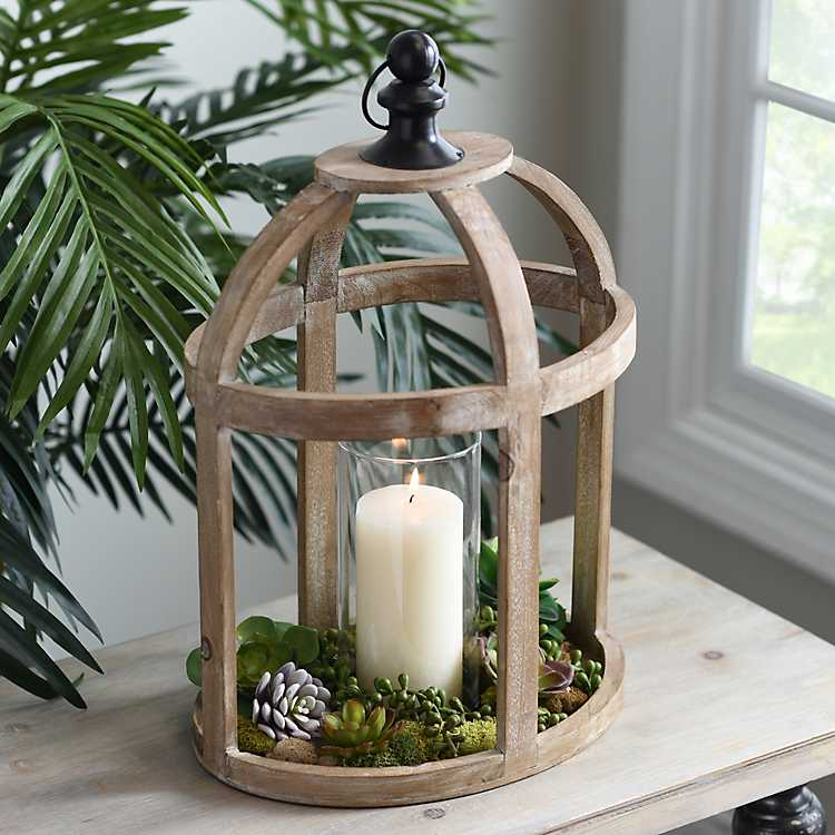 Caged Wood Lantern With Glass Hurricane Kirklands