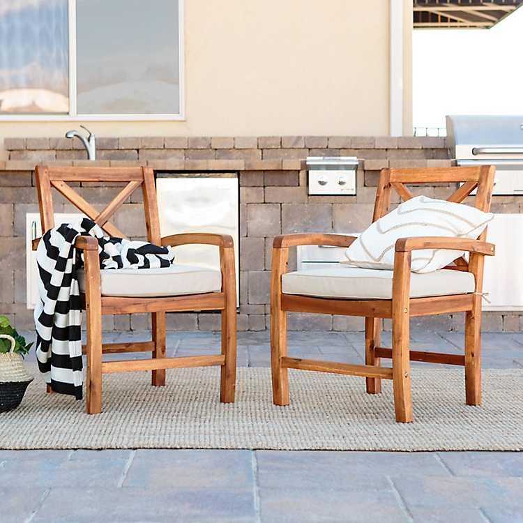 X Back Acacia Wood Patio Chairs Set Of 2 Kirklands