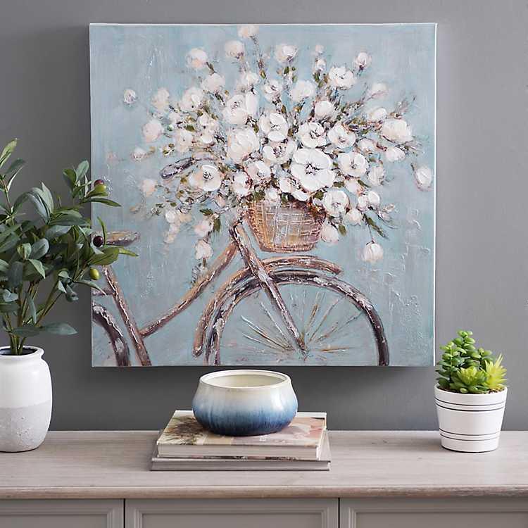 Flower Basket On Bike Canvas Art Print Kirklands