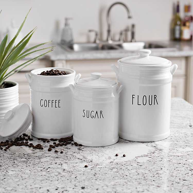 Flour Coffee And Sugar Canisters Set Of 3 Kirklands