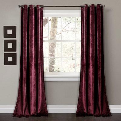 Burgundy Prima Velvet Curtain Panel Set