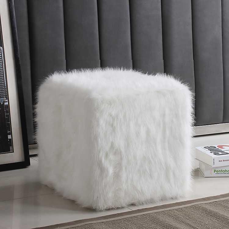 White Faux Fur Cube Ottoman Kirklands