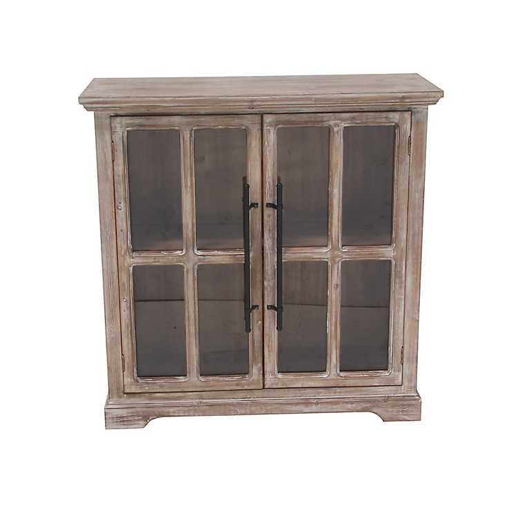 Rustic Wood And Glass 2 Door Cabinet Kirklands