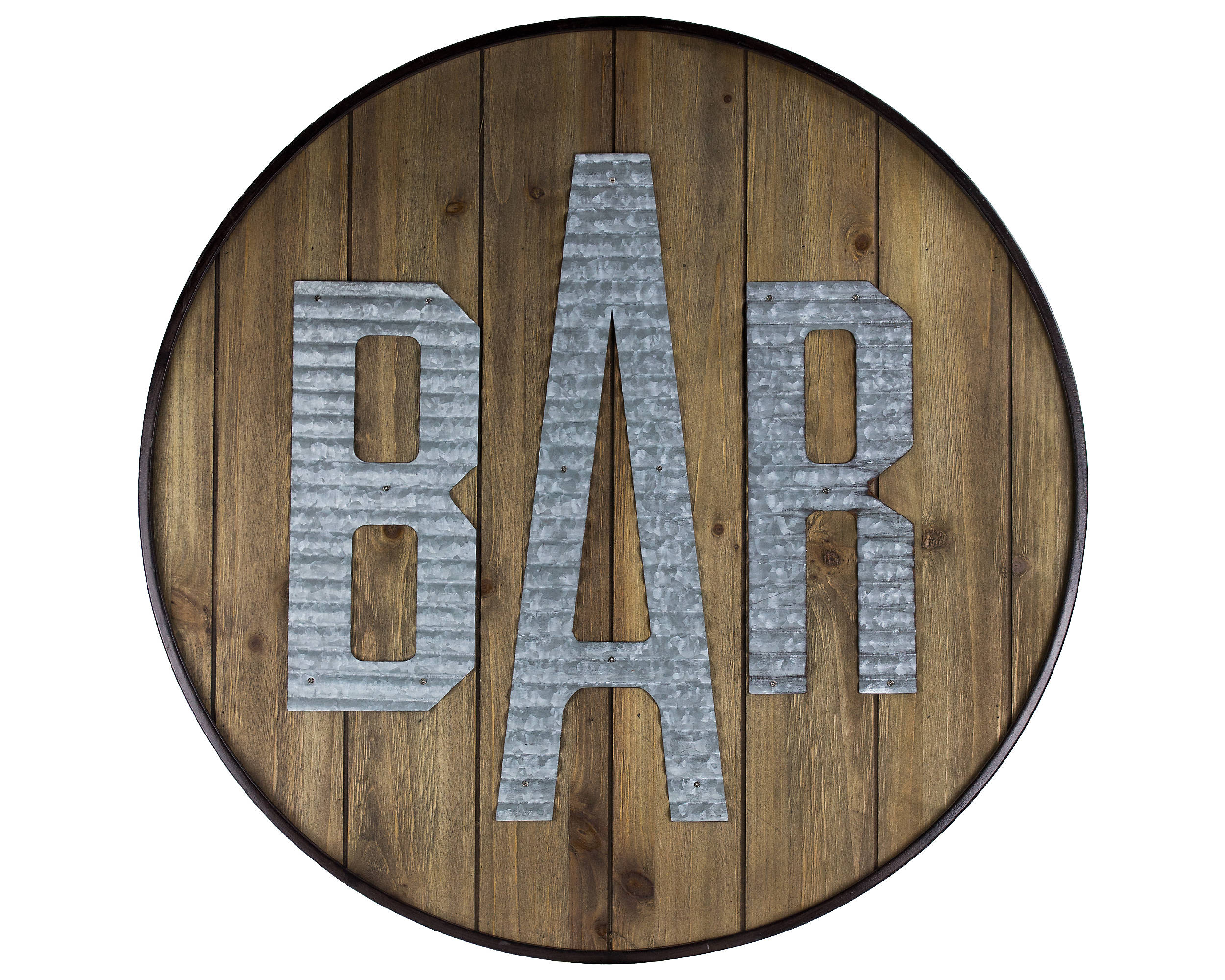 Shop Round Rustic Wood and Galvanized Metal Bar Sign from Kirkland's on Openhaus